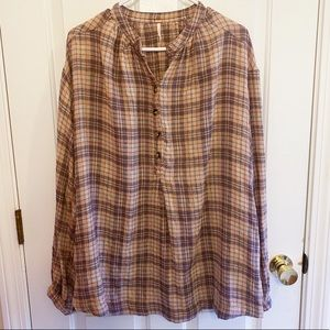 FREE PEOPLE | Cozy Brown Tan Flannel Button Shirt